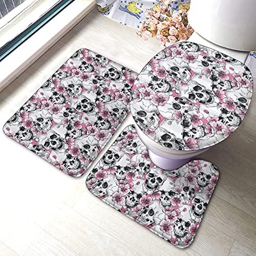 Juego de 3 alfombras de baño con diseño de calaveras florales impresas suaves absorbentes y antideslizantes, alfombrilla de baño con tapa para inodoro