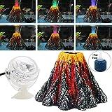 BSGP Aquarium-Dekoration Vulkan mit Luftblasenstein, Bunte LED-Strahler für Aquarien, Größe L