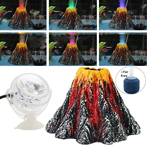 BSGP Aquarium Volcano Ornament Kit Air Bubbler Stone Colorful LED Spotlight for Aquarium Fish Tank Decorations, Large Size