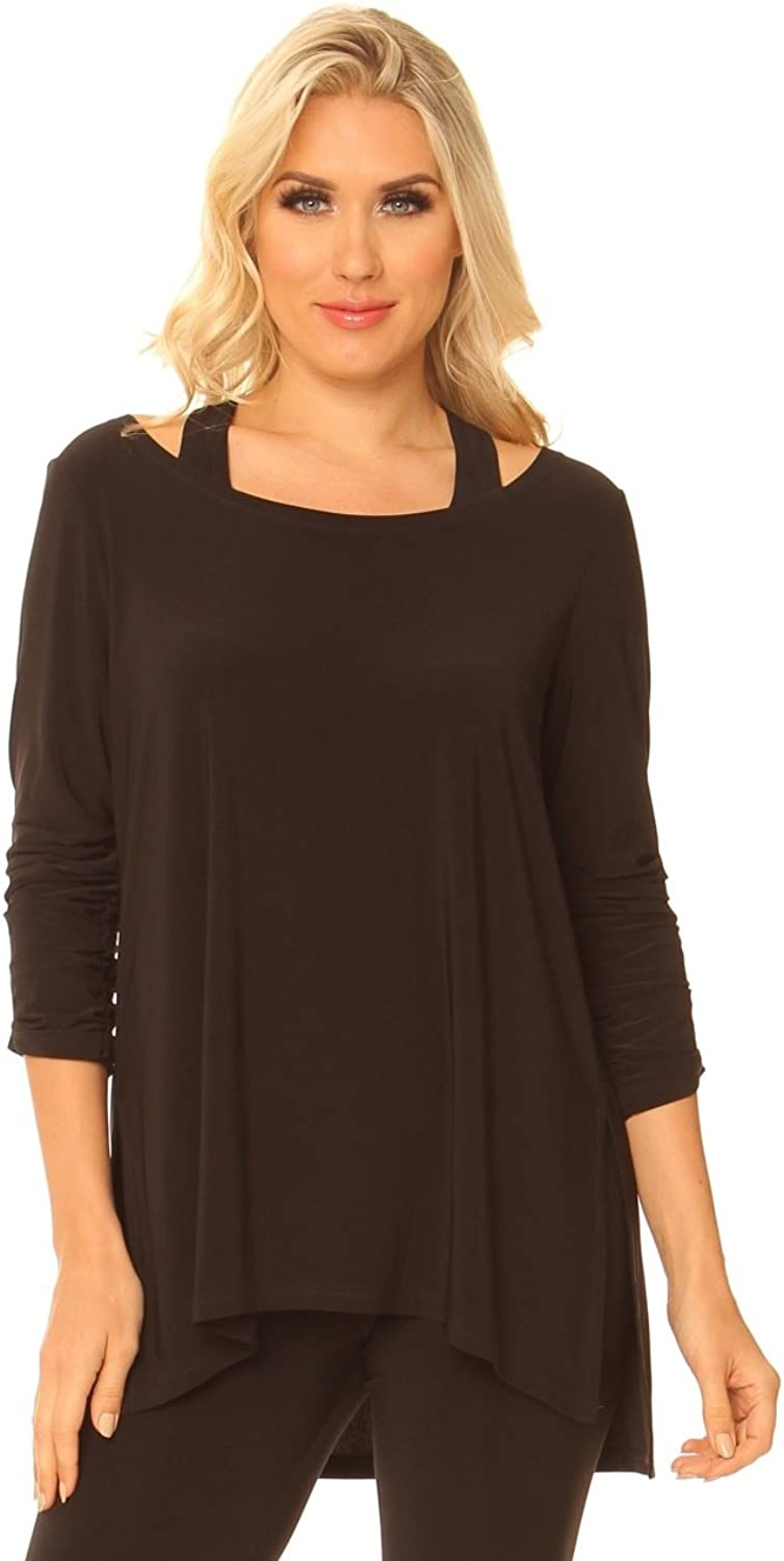Alisha.D Cut Out Shoulder Tunic with Pleated Sleeve Detail and High Low Hem.