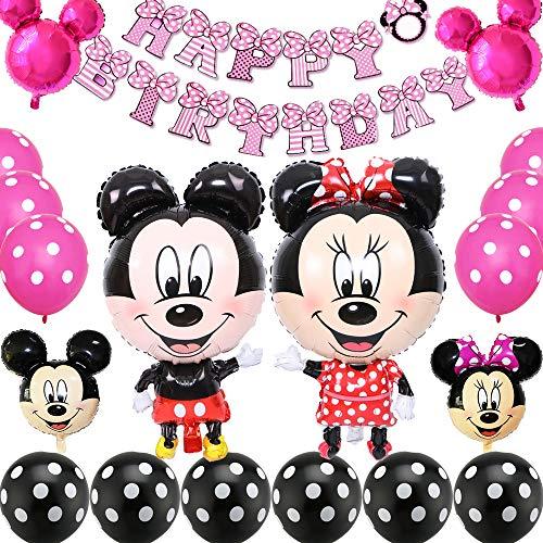 Palloncini Party Mickey, BESTZY Forniture per Feste di Compleanno di Topolino includono Banner, Palloncini per Feste Tema di Compleanno Baby Shower Decorazioni, Rosa Rossa