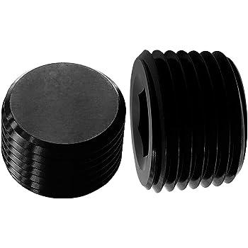 Aluminum 1//4 NPT Male Socket Allen Head Pipe Plugs Black Pack of 2