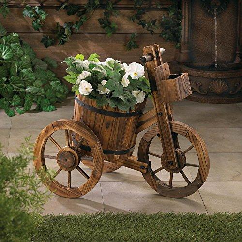 Garden Decor Wooden Barrel Outdoor Country Garden Tricycle Potted Planter Wagon Wheels Patio Arkansas