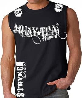 Muay Thai Fighting Black Muscle Sleeveless Shirt White Logos Tapout MMA UFC Tank Top