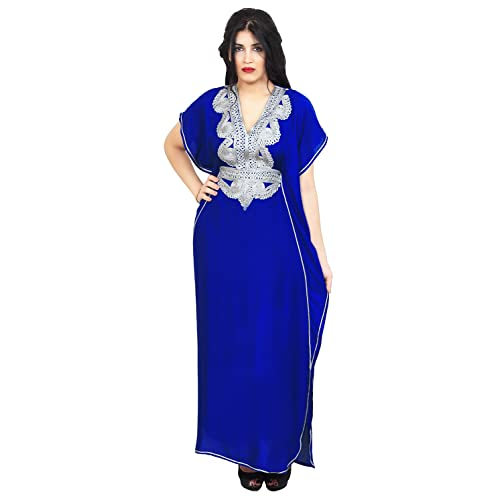3c92f2a18c2 Moroccan Caftans Handmade Cotton Silver Hand Embroidery Breathable Soft  Royal Blue
