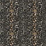 Chesapeake TOT47111 Luther Sand Skull Modern Damask Wallpaper