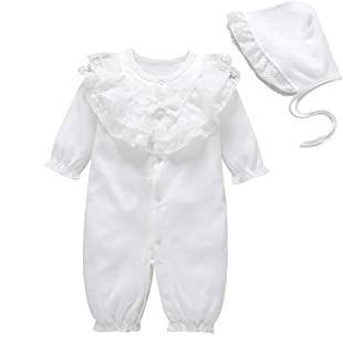 amropi Baby Girls Lace-Collar Romper Cotton Jumpsuit Newborn Clothes with Hat Outfit Set for 0-12 Months
