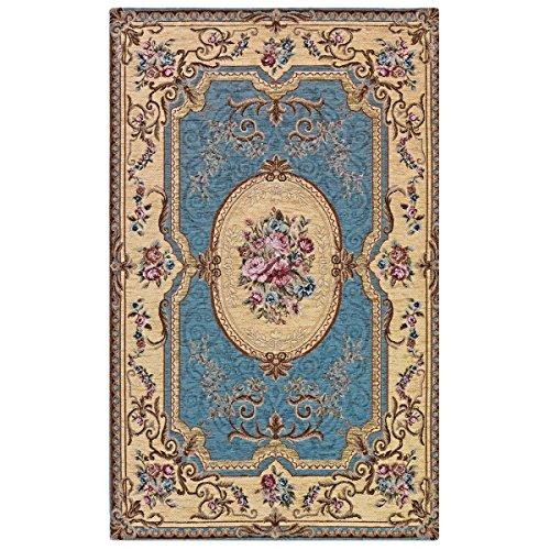 Webtappeti Tapis Aubusson à motifs classiques français - Bleu Cm. 115x175 bleu ciel