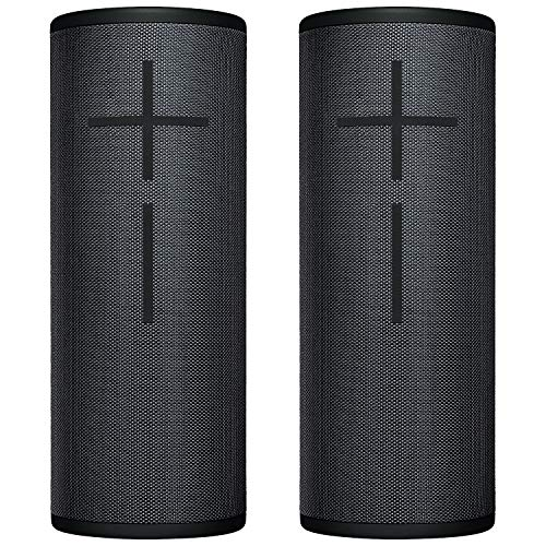 2-Pack Ultimate Ears UE MEGABOOM 3 Bluetooth Wireless Speaker - Waterproof Big Portable Stereo Audio System with Extra Bass - Eco Friendly Packaging - Night Black