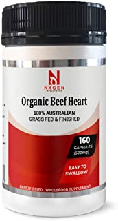 NXGEN Organic & Grass Fed Beef Heart with Natural CoQ10 to Supporting Mitochondria Health, Heart Health & Blood Pressure H...