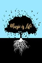 Music Is Life: Musical Notes Tree Silhouette Blank Music Manuscript Notebook with Staff Paper  - Blank Sheet Music Journal  - Christmas, Birthday Gift ... Songwriters, Teachers  (120 Pages 6 x 9)