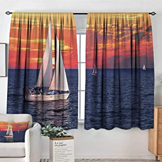Mozenou Sailboat Window Curtain Drape Sailboat Sailing on a Calm Evening Setting Sun Colored Sky Scenery Decor Curtains by 72