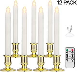 Window Candles, YUNLIGHTS 12 Pack Battery Powered Window Candles Flameless Taper Candles with Remote Control, Timer, Removable Gold Holders and Suction Cups for Window, Christmas, Holiday Decorations