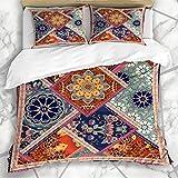 Conjuntos de fundas nórdicas Bufanda marrón Patrón de retazos Flores Ornamental Edredón de alfombra étnica marroquí Vintage Ropa de cama de microfibra roja Tamaño King con 2 Fundas de almohada Cuidado