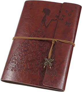 Leather Journal, A5 Refillable Notebook Vintage Spiral Bound Sketchbook Travel Journal to Write in for Women Girls with Blank Pages