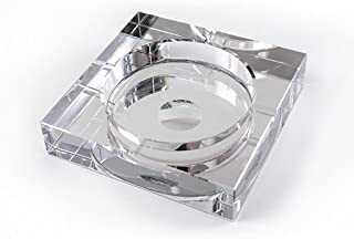 Ashtray Crystal Ashtray Fashion Gift Coffee Table Utility Large Boutique Ashtray (Color : Clear, Size : 18CM)