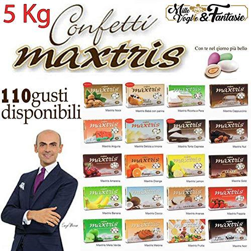 Generico Kit Confetti Maxtris Bianchi per confettate o Bomboniere Gusti a Scelta - per Matrimonio, Battesimo, Nascita, Comunione, Laurea, Diploma, Feste di Compleanno (5 kg Sufficienti 40 Persone)