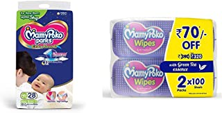 MamyPoko Pants Extra Absorb Diapers, New Born (28 Count) & MamyPoko Wipes with Green Tea Essence - Pack of 100 Wipes with Fragrance (100 Wipes)