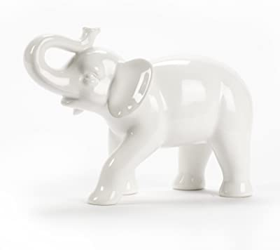 Lovely Abbott Collection Ceramic Elephant Figurine, White (Large)