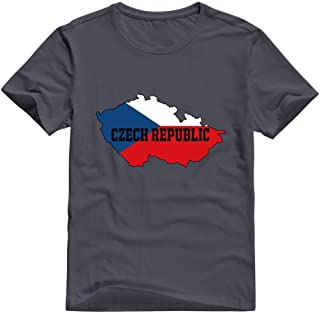 KST Men's Czech Republic Flag Map 100% Cotton O-Neck Custom Image T-Shirt