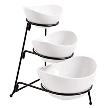3 Tier Oval Bowl Set with Collapsible Thicker Sturdier Metal Rack, White Party Food Server Display Set - Tiered Serving Stand - Three Ceramic Fruit Bowl Serving - Dessert Appetizer Cake Candy Chip Dip