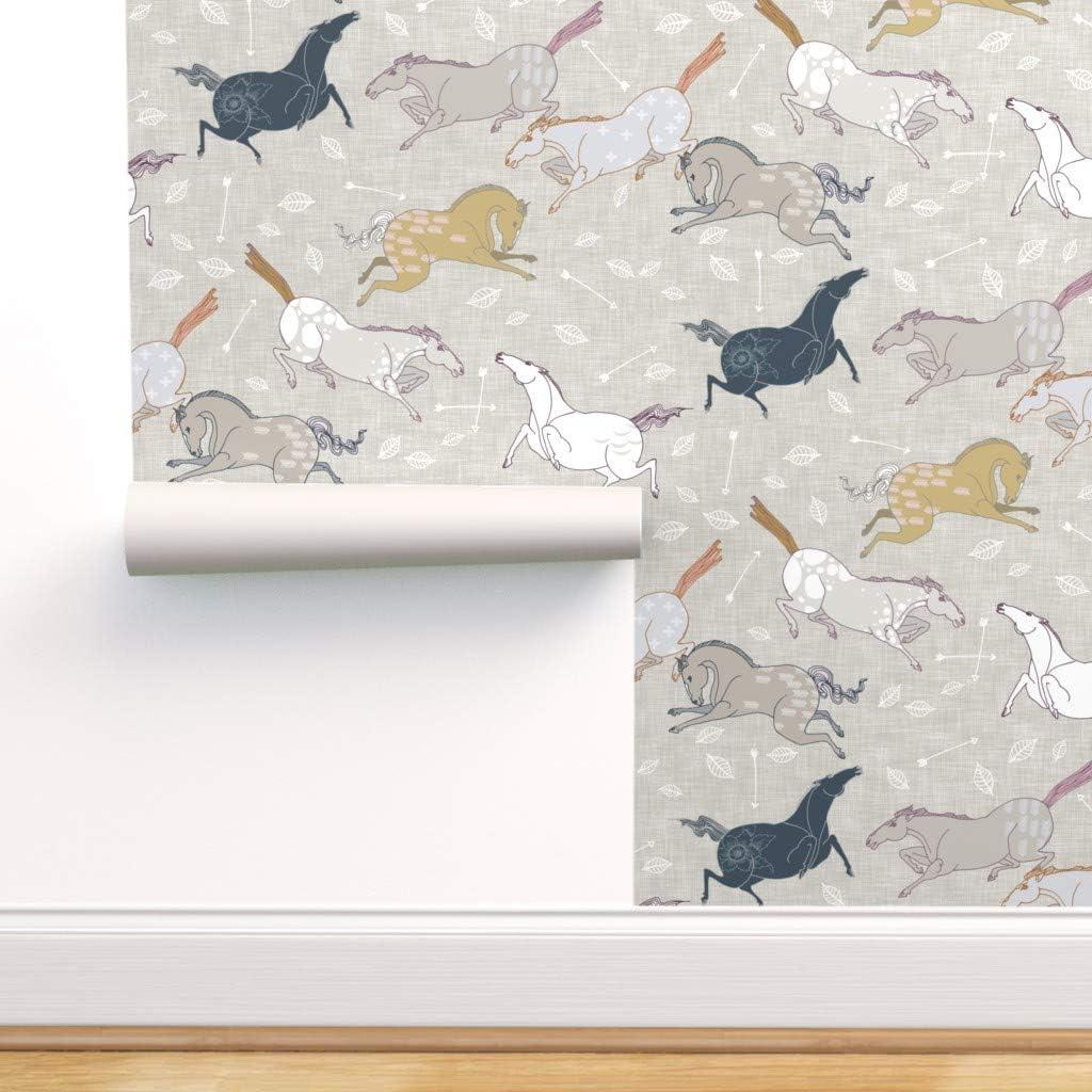 Spoonflower Peel and Stick Removable Wallpaper セール特価 Boho Horse Arrow セール