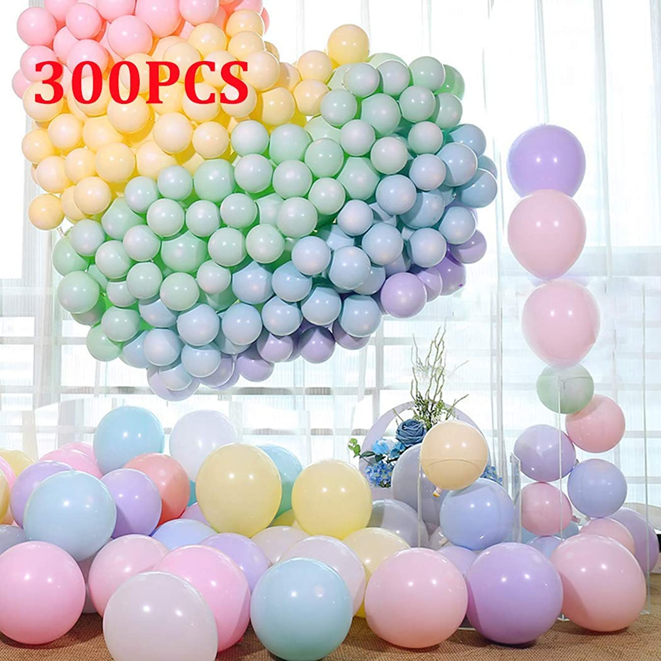 Party Balloons 10 Inches Macaron Candy Colored Latex Balloons Set (300 PCS) for Birthday Wedding Bog Bachelorette Christmas Baby Shower Party Decorations- Multicolor