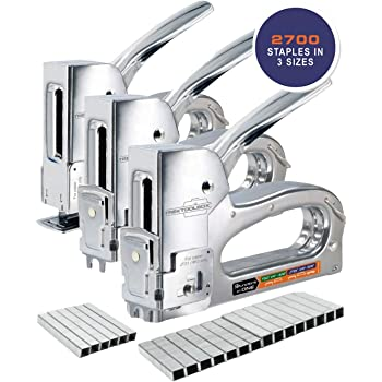 Staple Gun - Heavy Duty Staple Gun for Wood, Wire, and Paper - 3 Functions in 1 for T50 and JT21 Type Staples - Upholstery Staple Gun with 2700 Staples for Crafts, Insulation, and DIY Projects