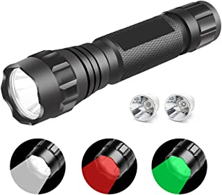 Tactical LED Flashlight Hunting Flashlights Waterproof Torch with White Green Red Light for Hunting Camping Hiking