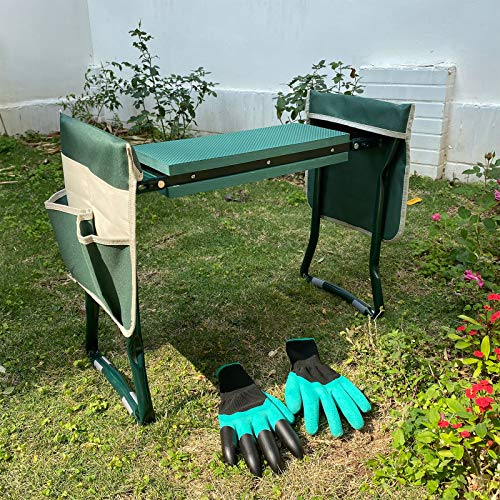LAIKOU Garden Kneeler and Seat Bench with 2 Free Tool Pouch and 1 Gloves Protects from Dirt amp Grass Stains Foldable Stool for Ease of Storage  EVA Foam Pad  Sturdy and Lightweight