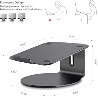 Ergonomic Design Laptop Stand Compatible with MacBook Aluminum Stand Mount with Bottom Swivels,Dark Grey