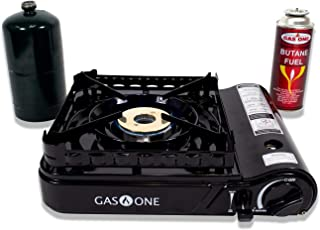 Gas ONE GS-3900P New Dual Fuel Propane or Butane Portable Stove with Brass Burner Head, Dual Spiral Flame 15,000 BTU Gas Stove with Convenient Carrying Case Most Powerful Heat Output Stove