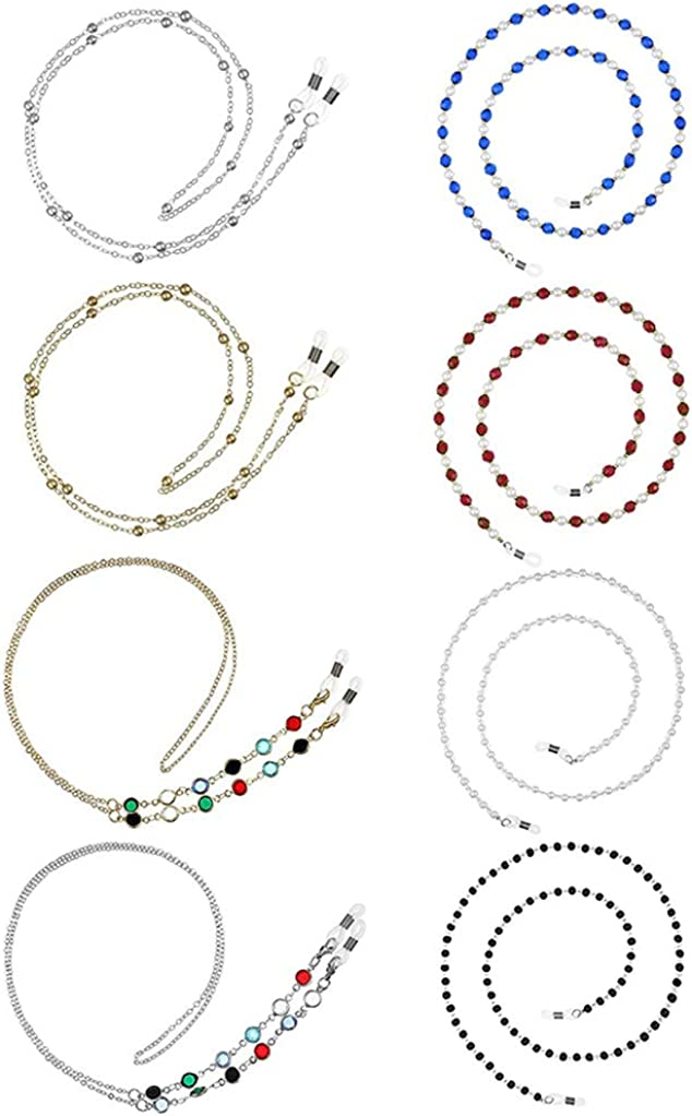 Collar de cadena de soporte de 8 piezas para máscara, Collar para Mascarilla, Cadenas de Gafas para Mujer,Correa Antideslizante para Gafas