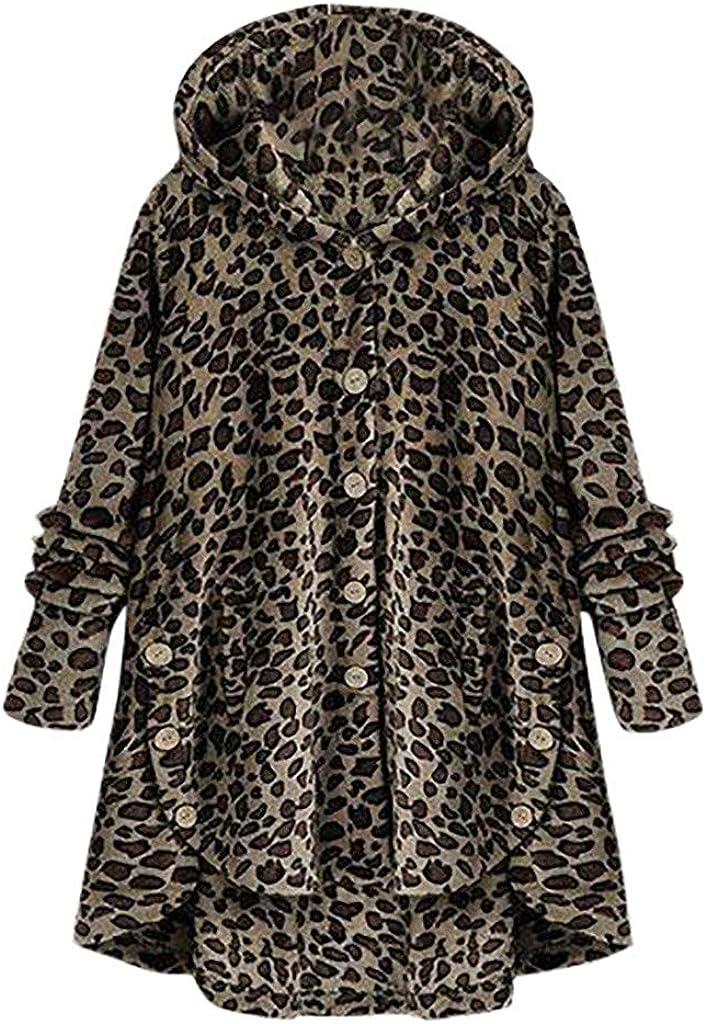 KYLEON Women's Coat Warm Fuzzy Fleece Lined Hooded Sweatershirt Jacket Leopard Oversized Pea Parka Plus Size S-5XL
