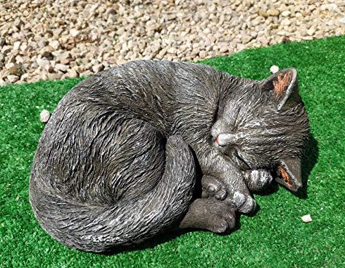DEGARDEN Figura de Gato Decorativa para Jardín o Exterior Hecho de hormigón-Piedra Peso 8 kg | Figura Gato Grande de 40cm. de Largo, Color Ceniza