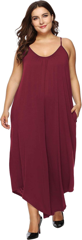 IyMoo Women's Plus Size Sleeveless Spaghetti Strap Long Pants Jumpsuit with Pockets Overlay