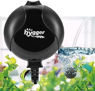 Hygger Quiet Mini Air Pump for Aquarium 1.5 Watt Oxygen Fish Air Pump for 3-55 L Fish Tank with Accessories (Black)