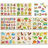 8PACK Wooden Peg Puzzles for Toddlers 1 2 3 Year Olds, Kids Puzzles Set - Letters, Numbers, Animals, Vehicles, Ocean, Vegetables, Fruits and Farm,Educational Learning Toys for Girls & Boys.