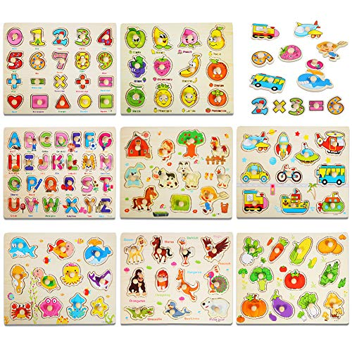 Wooden Peg Puzzles for Toddlers 1-3