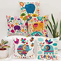 STITCHNEST Unique Cute Elephant Cartoon Blue Printed Canvas Cotton Cushion Covers, Set of 5 (12 x 12 Inches)