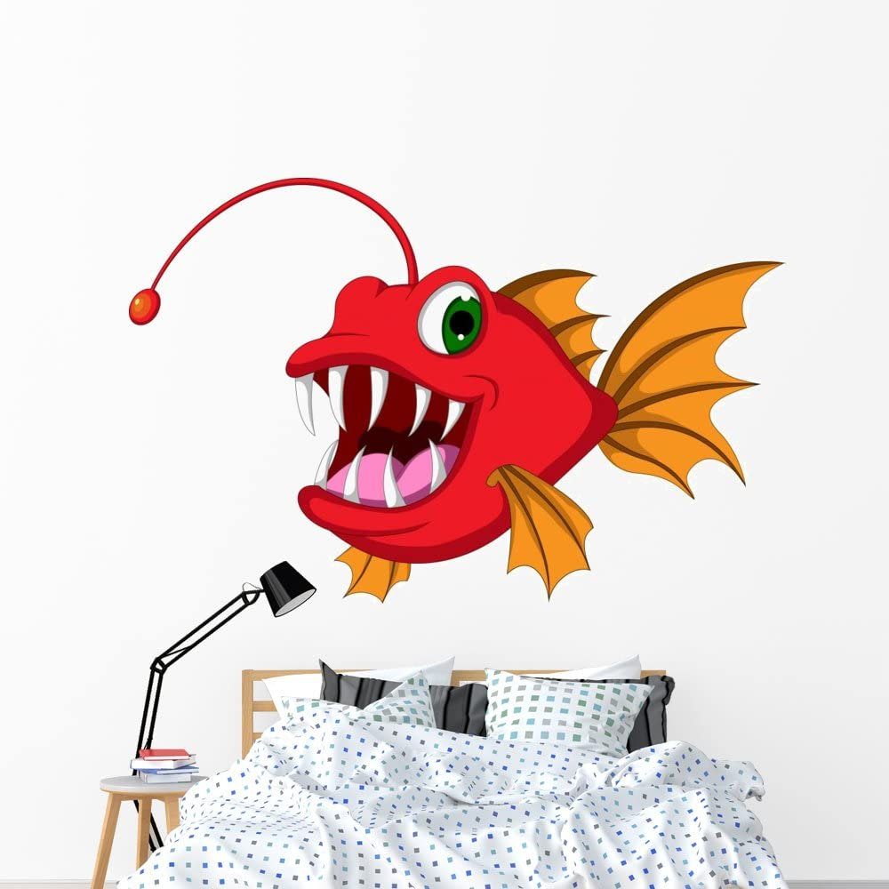 Wallmonkeys Red Monster Fish Cartoon Wall Max 65% OFF and Decal G Stick Peel Max 75% OFF