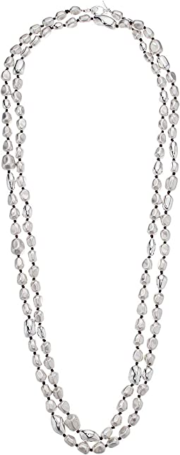 Silver Beaded Long Station Necklace