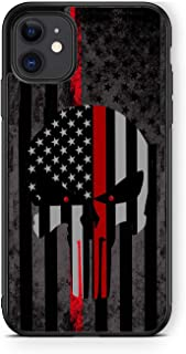XUNQIAN Compatible for iPhone 12 Case, iPhone 12 Pro Case, American Flag Thin Blue Line Skull/Red Line Art Thin Soft Black...