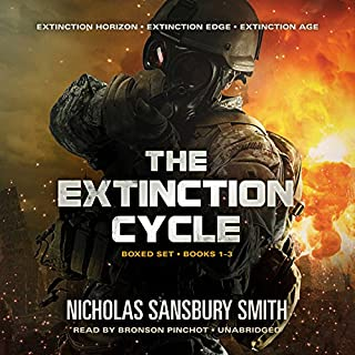 The Extinction Cycle Boxed Set     Extinction Horizon, Extinction Edge, and Extinction Age (The Extinction Cycle, Books 1 - 3)              By:                                                                                                                                 Nicholas Sansbury Smith                               Narrated by:                                                                                                                                 Bronson Pinchot                      Length: 25 hrs and 31 mins     369 ratings     Overall 4.4