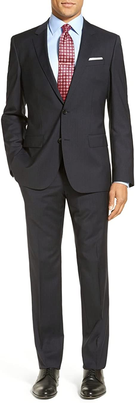 Luciano Natazzi Men's Two Piece 2 Button Stripe Suit Modern Fit Jacket with Pant