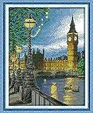 Kit de punto de cruz, patrones de bordado fáciles, manualidades de costura, para adultos niños,Torre del reloj de Londres 11ct (Lienzo preimpreso)