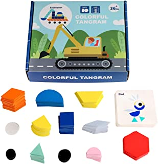 STOBOK 1 Set Wooden Puzzle Toy Geometry Tangram Puzzle Toys for Children Colorful Educational Montessori Toy