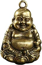 Mini Brass Laughing Buddha Statue, Retro Brass Casting and Old Smiling Maitreya Buddha Key Rings Car Pendant, Home Decor B...