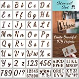 Letter Stencils for Painting on Wood - Alphabet Stencils for Painting & Drawing - Reusable Cursive Letter and Number Stencils for Signs & More - Plastic Paint Stencils for Art and DIY Crafts