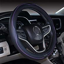 Istn Cubierta de Volante de Cuero de Microfibra 38 cm para la mayoría de los Autos (Negro Morado)